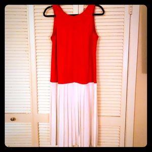 👗NEW👗VTG red/white sleeveless pleated slip/dress